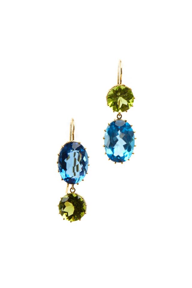 Yellow Gold Blue Topaz & Green Peridot Earrings
