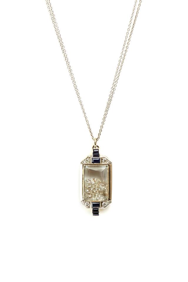 White Gold Blue Sapphire Diamond Shake Necklace