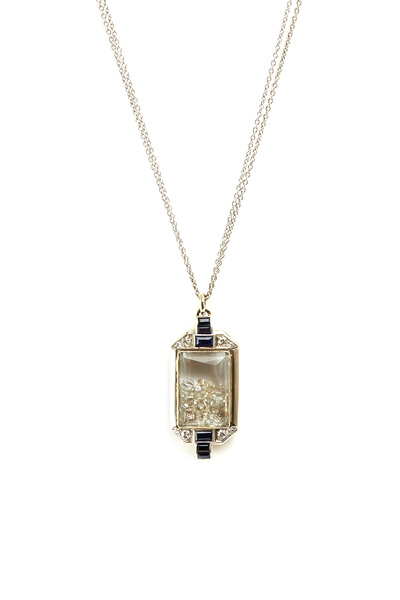 Renee Lewis - White Gold Blue Sapphire Diamond Shake Necklace