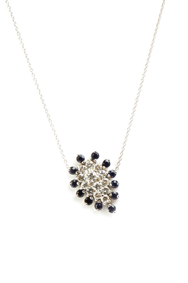 White Gold Sapphire Teardrop Necklace