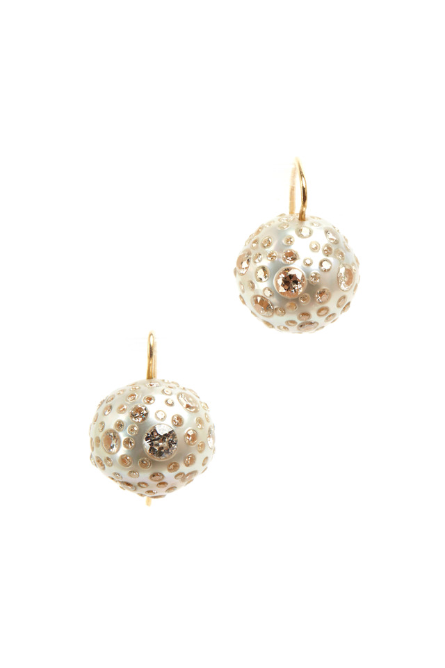 Gold White South Sea Pearl Diamond Stud Earrings