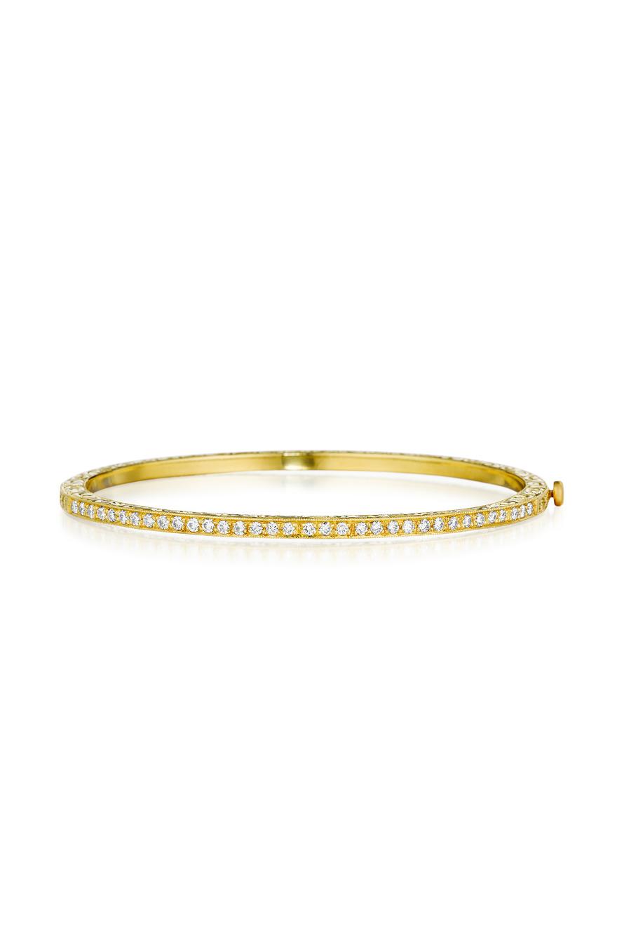 Gold Pave Diamond Thin Engraved Bangle