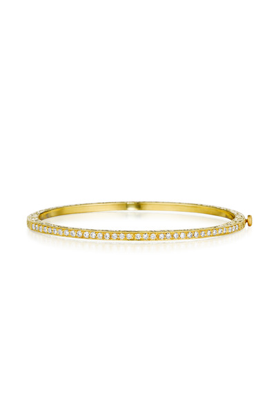 Penny Preville - Gold Pave Diamond Thin Engraved Bangle