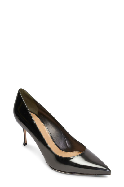 Sergio Rossi - Godiva Gunmetal Leather Mirror Pumps, 75mm