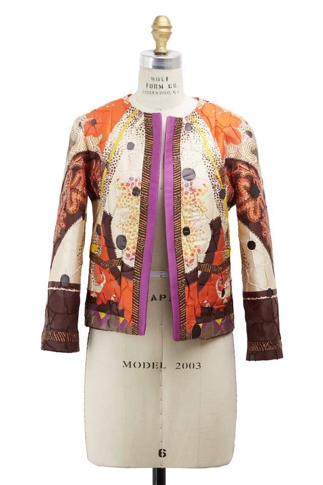 Orange Multicolor Cropped Jacket