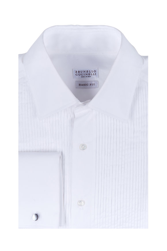 Brunello Cucinelli White French Cuff Tuxedo Shirt