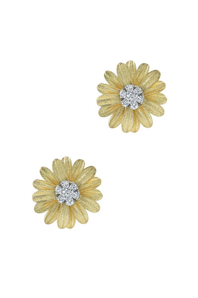 Aaron Henry - 18K Yellow Gold Diamond Flower Earrings
