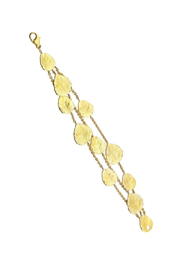 Aaron Henry 18K & 19K Yellow Gold Aspen Leaf & Chain Bracelet