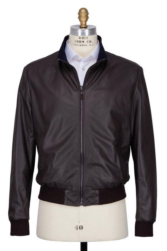 Maurizio Baldassari Reversible Brown Leather Bomber Jacket
