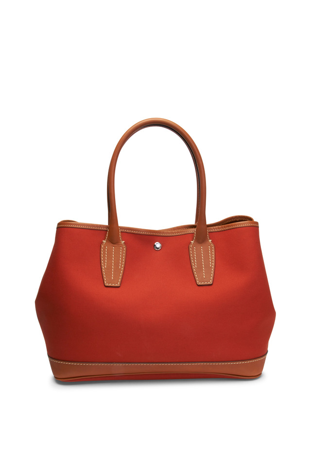 Garden Orange Canvas & Leather Trim Satchel