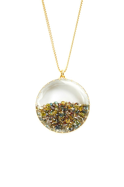 Renee Lewis - Yellow Gold Mixed Color Diamond Shake Necklace