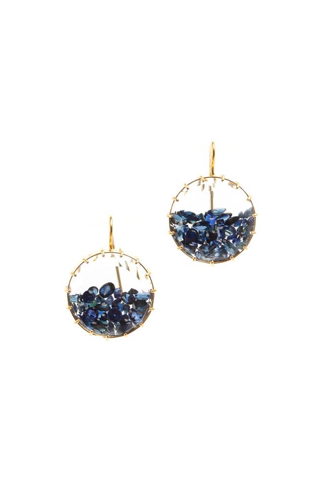 Yellow Gold Blue Sapphire Shake Earrings