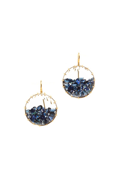 Renee Lewis - Yellow Gold Blue Sapphire Shake Earrings