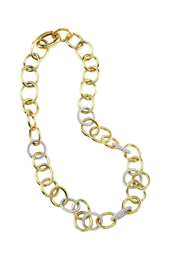 Aaron Henry 18K Yellow Gold Diamond Link Necklace