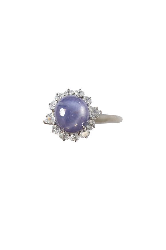 Oscar Heyman Platinum Star Sapphire & Diamond Ring
