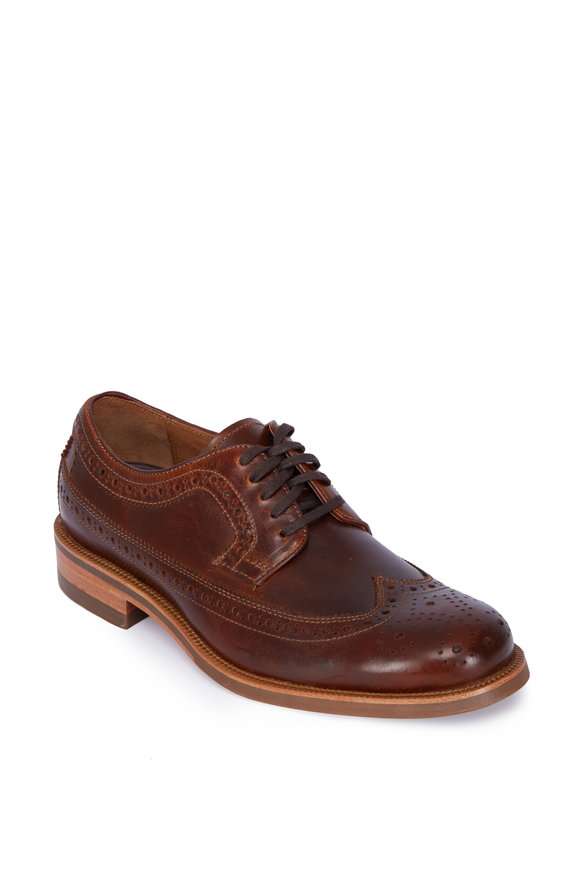 Trask Fiske Brown Leather Wingtip Oxford