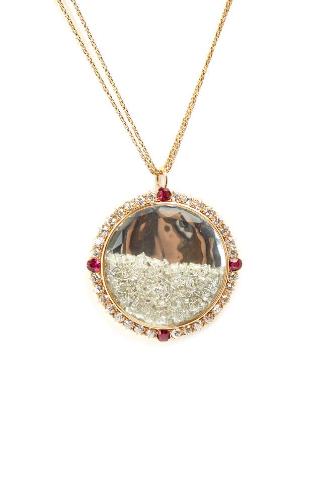 Yellow Gold Ruby Rim Diamond Shake Necklace