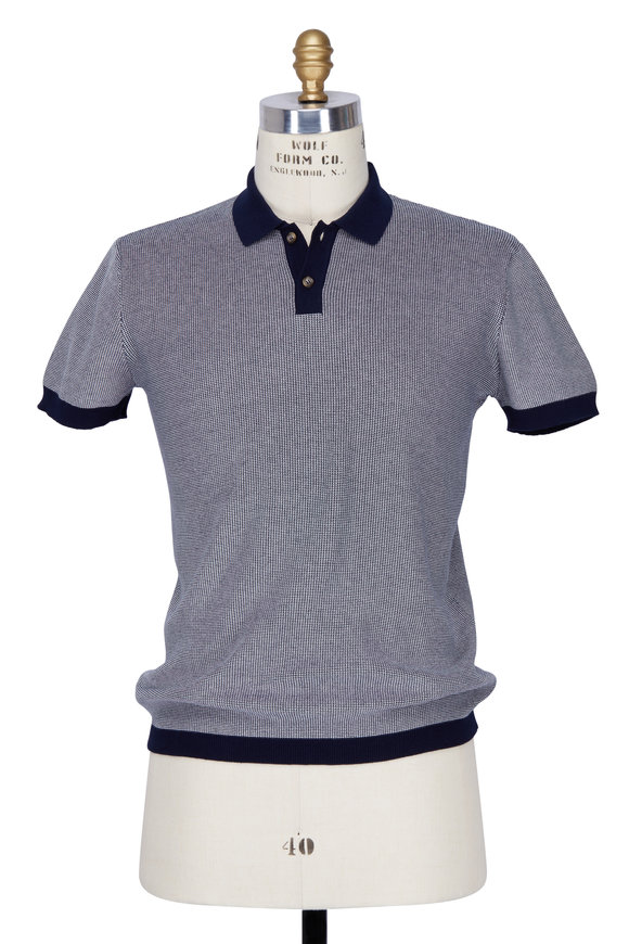 Orley Navy Blue Micro Stitch Polo