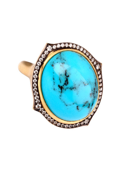 Sylva & Cie - 18K Yellow Gold Turquoise & Diamond Ring