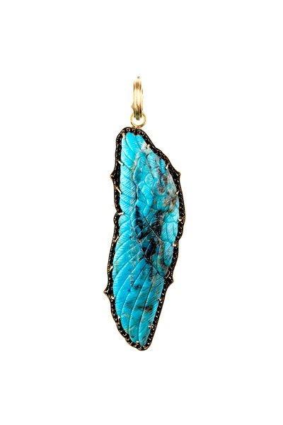 Sylva & Cie - 18K Yellow Gold Turquoise & Diamond Pendant