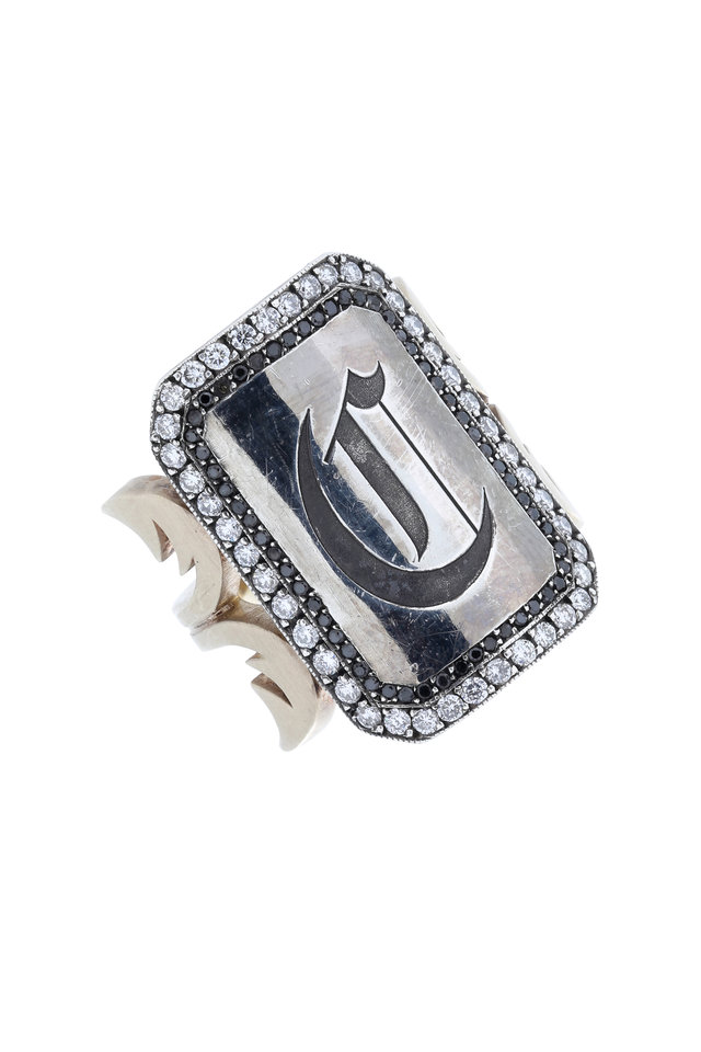 "18K White Gold & Silver Diamond ""C"" Ring"