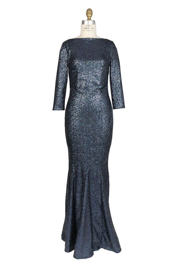 Talbot Runhof Black Micro Sequin Three-Quarter Sleeve Gown