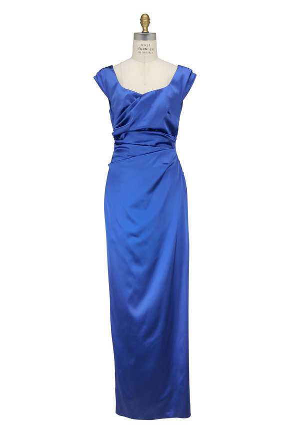 Talbot Runhof Kortney Periwinkle Satin Cap Sleeve Gown
