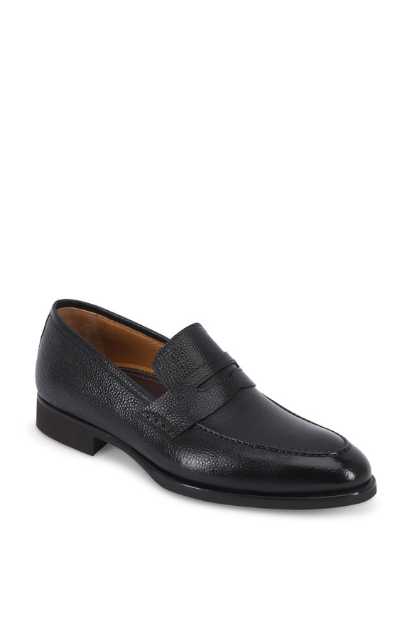 Di Bianco Black Grained Leather Penny Loafer