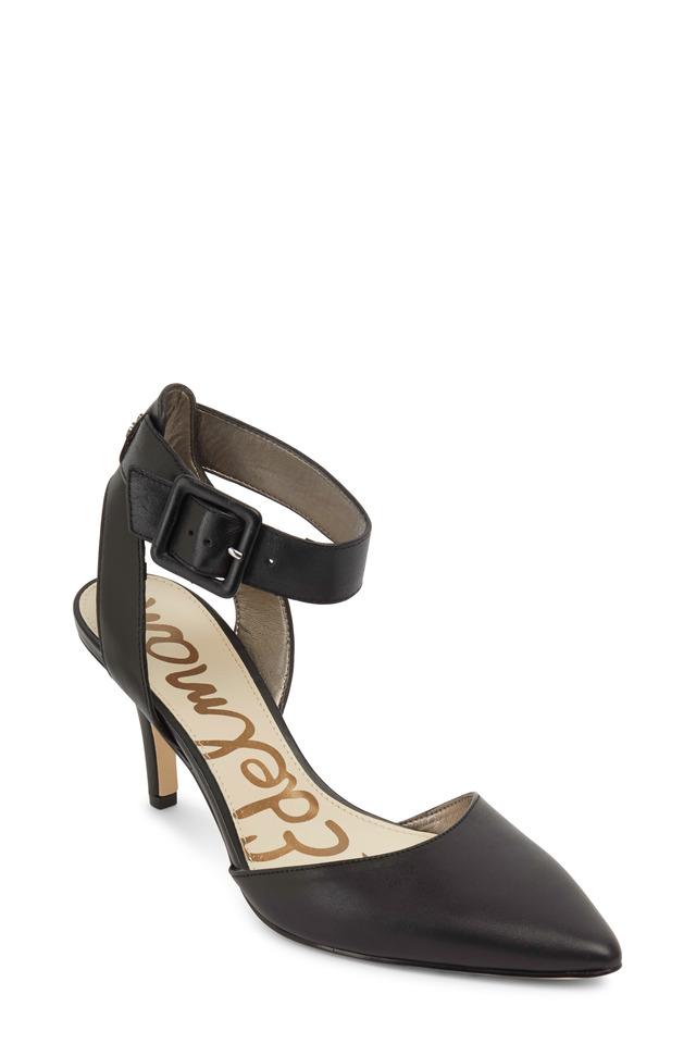 Okala Black Leather Ankle Strap Pumps