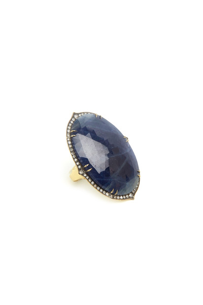 Sylva & Cie - Yellow Gold Large Oval Sapphire Diamond Ring