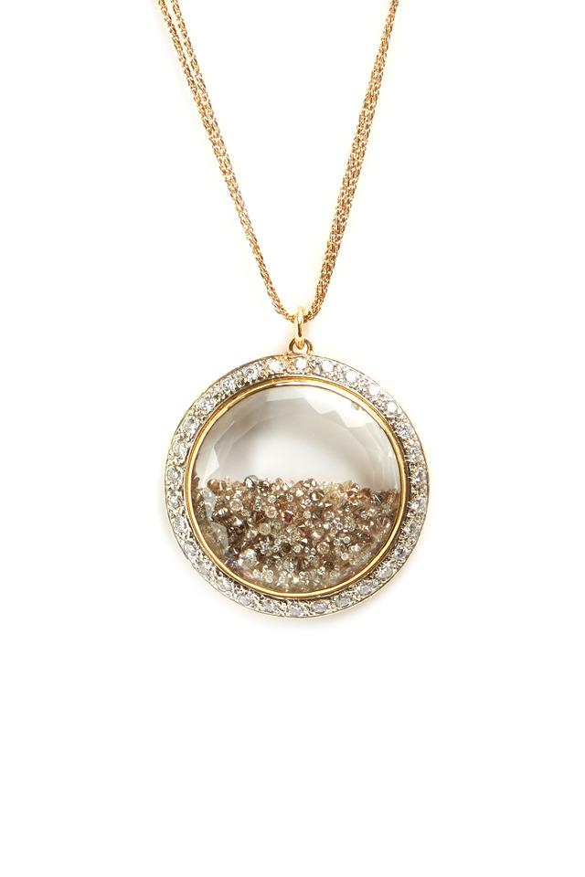 Yellow Gold Diamond Rim Shake Necklace