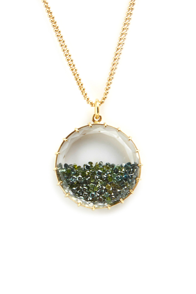 18K Yellow Gold Green Diamond Shake Necklace