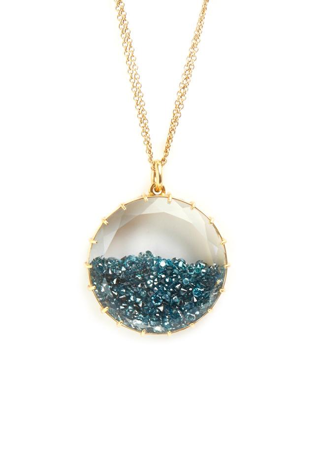 Yellow Gold Blue Diamond Shake Necklace