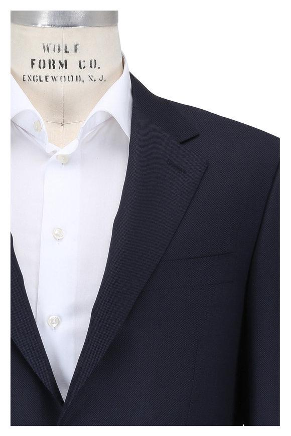 Canali Navy Blue Birdseye Pattern Wool Suit
