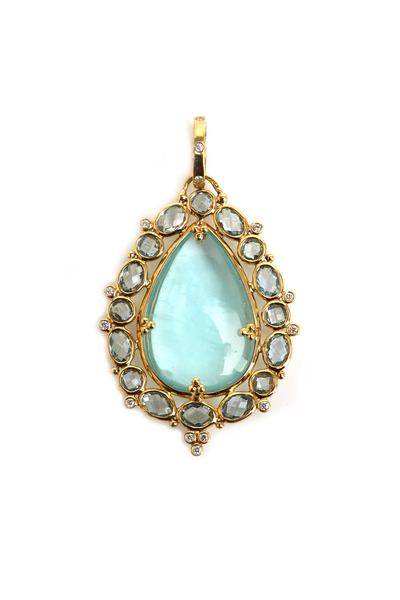 Temple St. Clair - Yellow Gold Pearshape Aqua Diamond Pendant