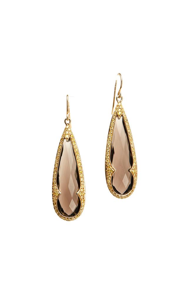Gold Smokey Quartz Yellow Diamond Drop Earrings