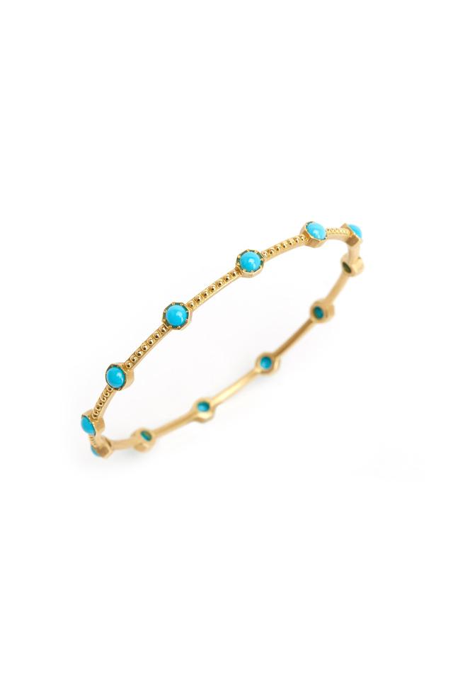 Yellow Gold Turquoise Caviar Bangle Bracelet