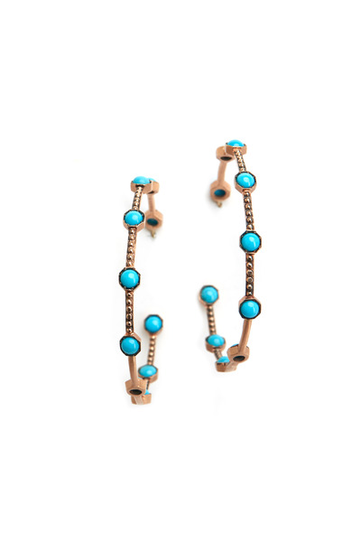 Sylva & Cie - Rose Gold Turquoise Hoop Earrings