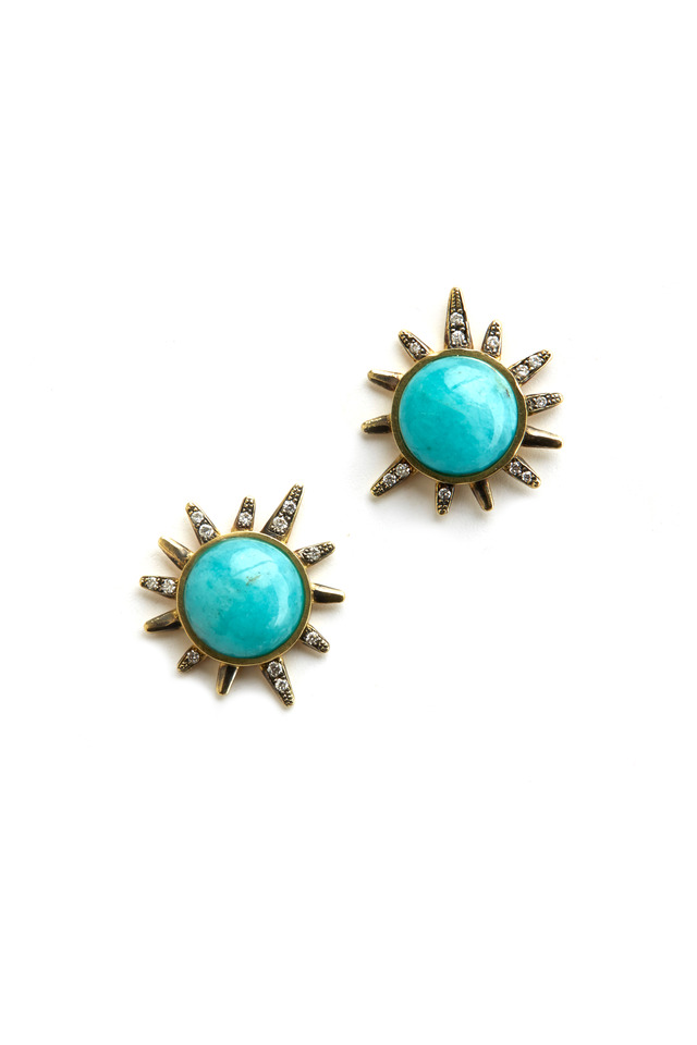 Yellow Gold Amazonite Diamond Stud Earrings