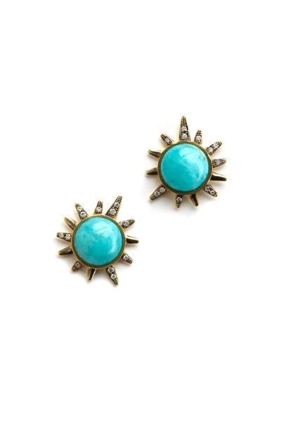 Sylva & Cie - Yellow Gold Amazonite Diamond Stud Earrings