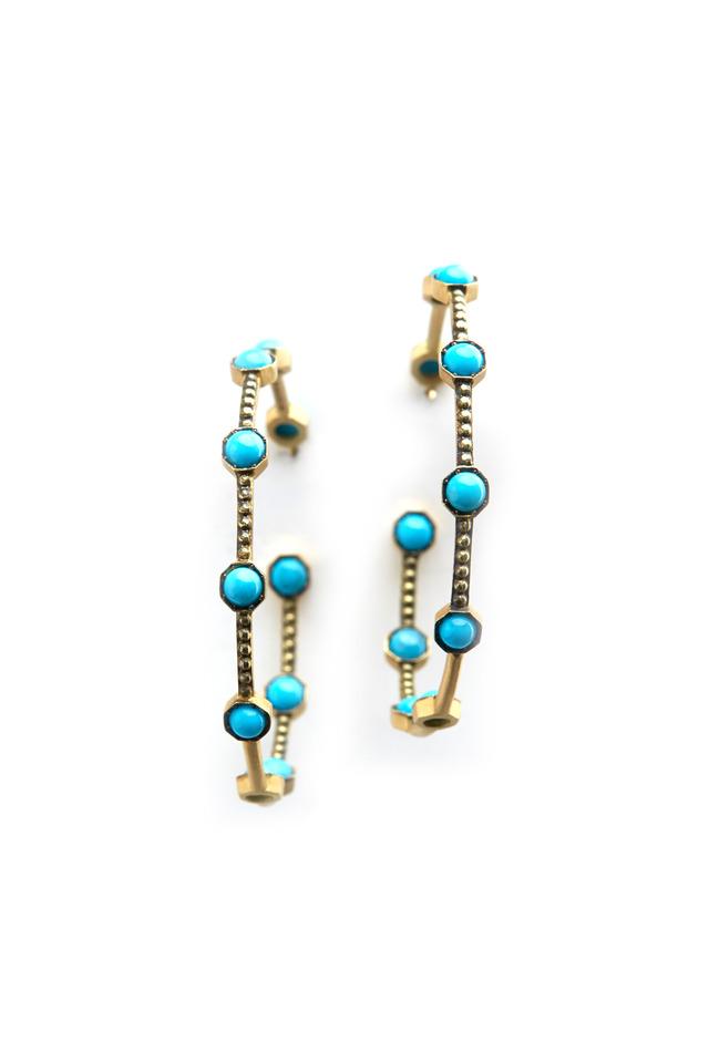 Yellow Gold Turquoise Hoop Earrings