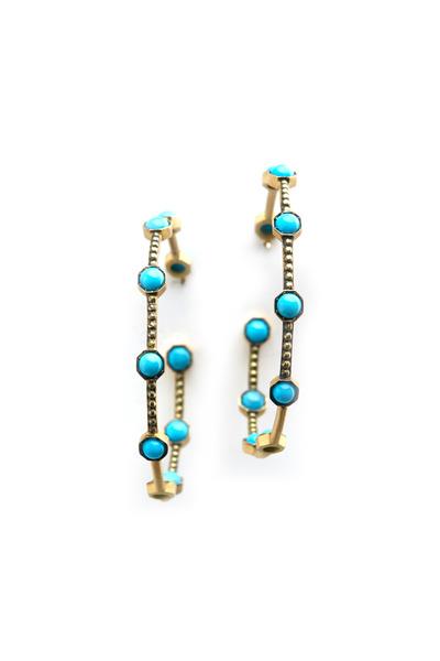 Sylva & Cie - Yellow Gold Turquoise Hoop Earrings