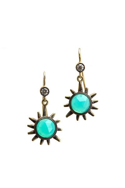 Sylva & Cie - Yellow Gold Laguna Agate Diamond Earrings