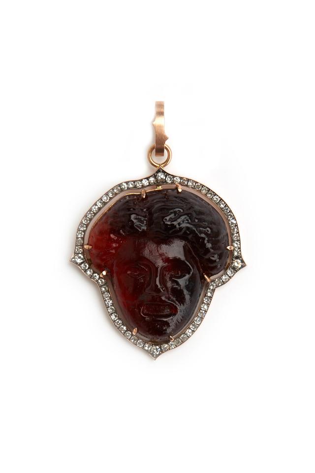 Gold Orange Intaglio Aphrodite Diamond Pendant