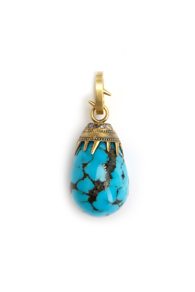 Sylva & Cie - Yellow Gold Turquoise Grey Diamond Pendant