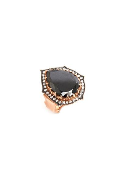 Sylva & Cie - Rose Gold Black & White Diamond Cocktail Ring