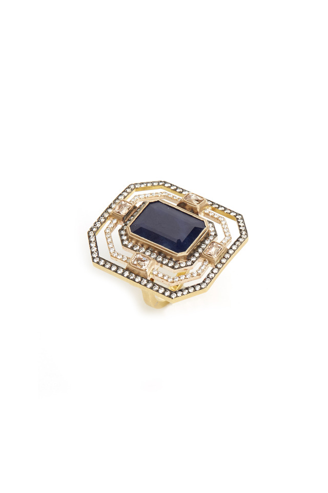 Yellow Gold Blue Sapphire Diamond Ring