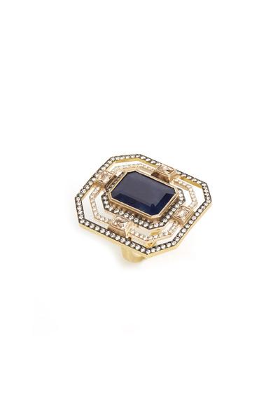 Sylva & Cie - Yellow Gold Blue Sapphire Diamond Ring