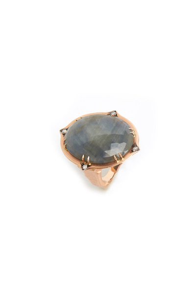 Sylva & Cie - Rose Gold Oval Sapphire Diamond Ring