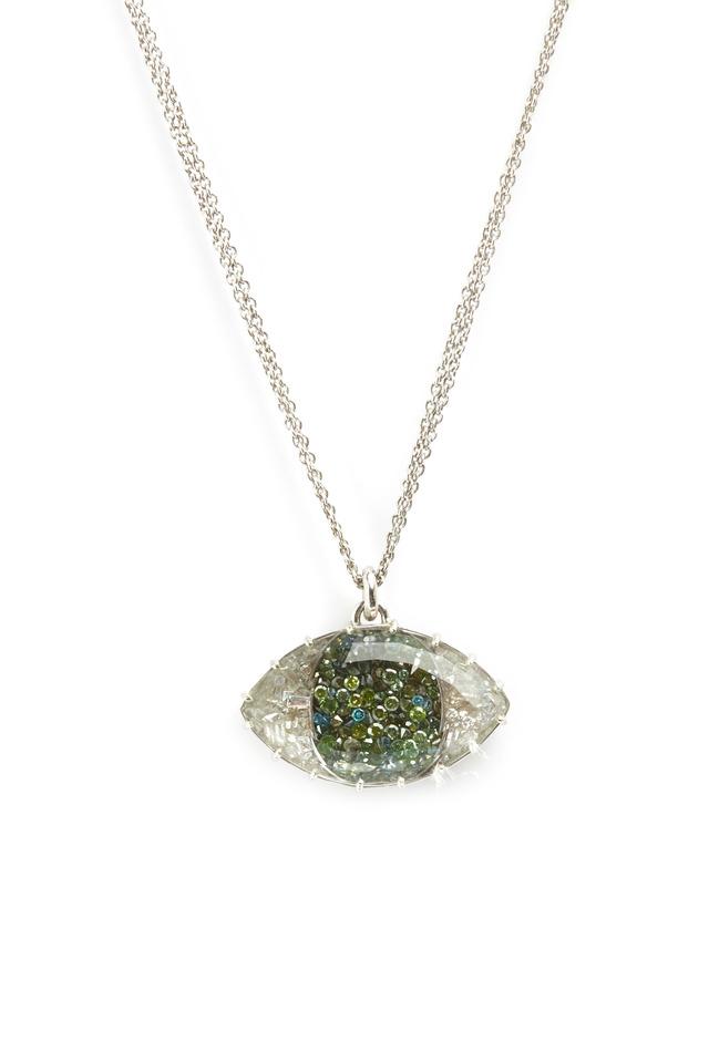 White Gold Green & White Diamond Evil Eye Necklace